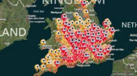 Environment Agency map showing the alerts and warnings across England and Wales