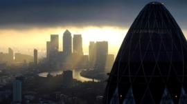 Sunrise in City of London and Canary Wharf