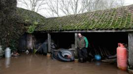 Flooded farm in Somerset