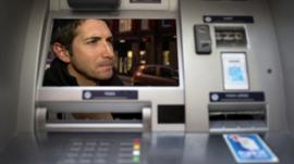 graphic showing member of public on cash machine screen