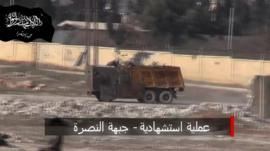 Truck being driven in Aleppo