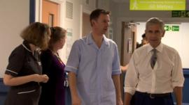 Jeremy Hunt with Sir Stuart Rose at Basildon Hospital