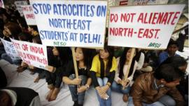 Members of North East Students Organisation (NESO) protest in Gauhati, India