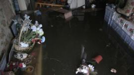 Inside a flooded house