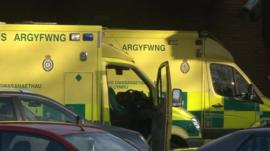 Ambulances outside Princess of Wales Hospital on 16 January