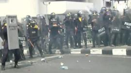 Thai police in riot gear