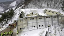 Collapsed auditorium building