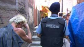 Police officer in Brazil shanty town