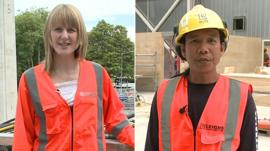 Scottish woman and Filipino man in orange work vests