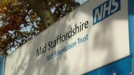 Sign outside Stafford Hospital reading: Mid Staffordshire NHS Foundation Trust