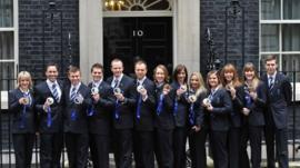 GB medal winners at Downing Street