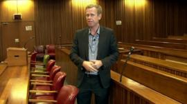 The BBC's Andrew Harding in Pretoria court room