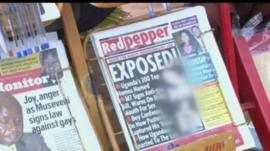 Front of Red Pepper newspaper in Uganda