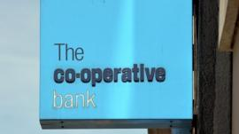 A sign reading: 'The co-operative bank'