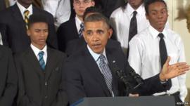 President Barak Obama giving a speech