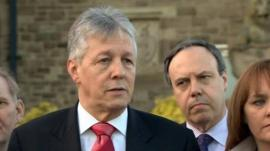 Peter Robinson at a DUP press conference