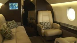 lounge area of private jet