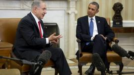 Israeli Prime Minister Benjamin Netanyahu (left) and US President Barack Obama during a meeting in the Oval Office of the White House
