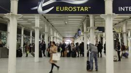 Eurostar departure gates at St Pancras station in London