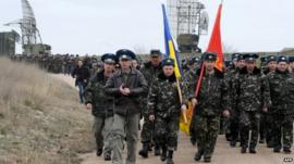 Ukrainian air force pilots march in their airbase in Belbek, near Sevastopol