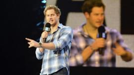 Prince Harry gives a speech at the inaugural WE Day UK at Wembley Arena