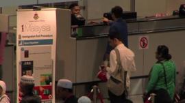 Immigration queue at airport