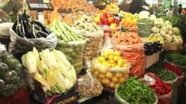 A stall selling fruit and vegetables