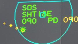 Air traffic control signal on radar