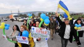 Crimean Tatars demonstrating on Friday