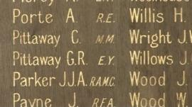 Names on the Sharp Street memorial