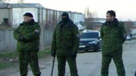 Soliders outside Simferopol base