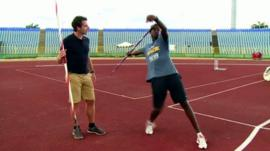 Mark Beaumont with Shakeil Waithe in Trinidad & Tobago
