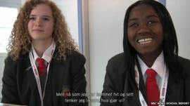 Two female School reporters , Norwegian subtitles
