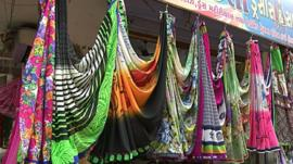 Saris on display