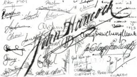 A compilation of famous signatures including John Hancock's