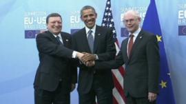 EU Commission President Jose Manuel Barosso, Barack Obama and EU Council President Herman Van Rompuy