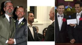 Three couples that were married on Saturday just after midnight