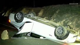 Car overturned on roof