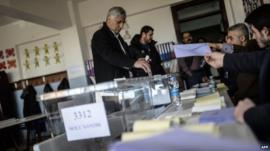 Ballots cast in Turkey