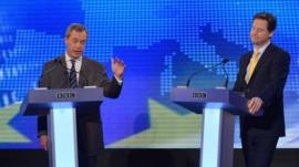 Nick Clegg and Nigel Farage debate at BBC Radio Theatre, BBC Broadcasting House