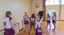St Mary's pupils playing netball