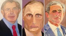 Composite photo of Blair, Putin and Bush portraits by George W Bush