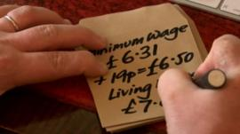 Minimum wage and living wage figures on paper