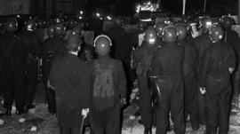 Police in riot gear during the Broadwater Farm riot