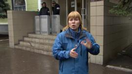 Olga Ivshina outside Kramatorsk police station