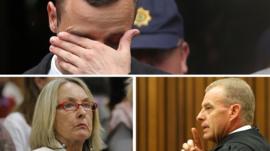 Clockwise from top, Oscar Pistorius, prosecutor Gerrie Nel and Reeva Steenkamp's mother June