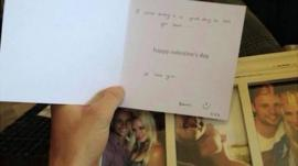 Valentine's day card from Reeva Steenkamp to Oscar Pistorius