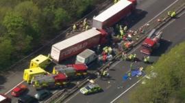 Aerial picture of crash