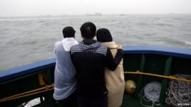 Family members of missing passengers who were on the South Korean Sewol ferry