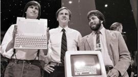 Former Apple CEO John Sculley (centre) with Steve Jobs (left) and Steve Wozniak (right)